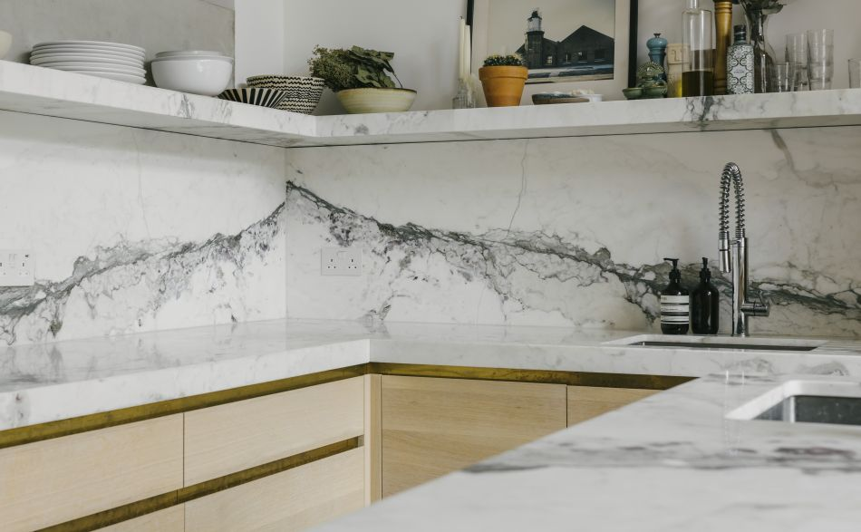 marble worktop, splashback and shelf