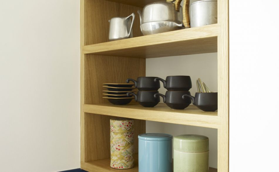 Small open shelves made from oak