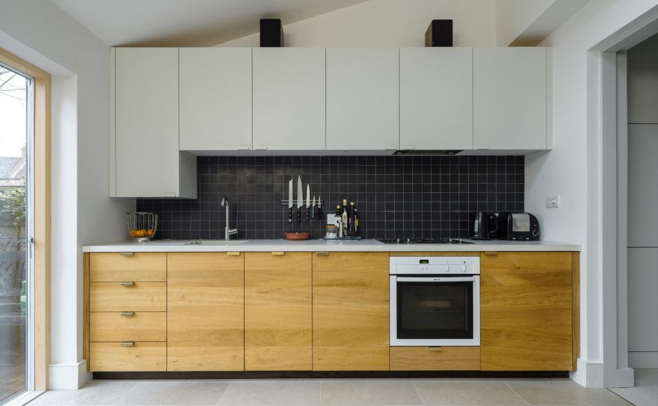 Solid oak kitchen with concrete worktop